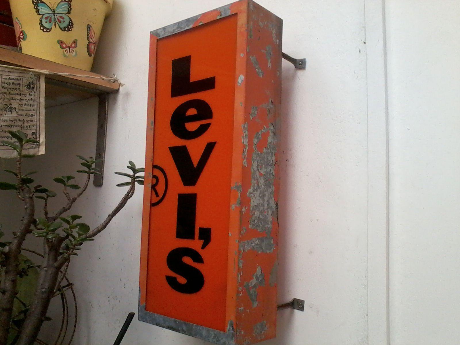 Antiguo Cartel Luminoso Levi S San Francisco Usa Mi Casa Vintage Signs Levi Orange