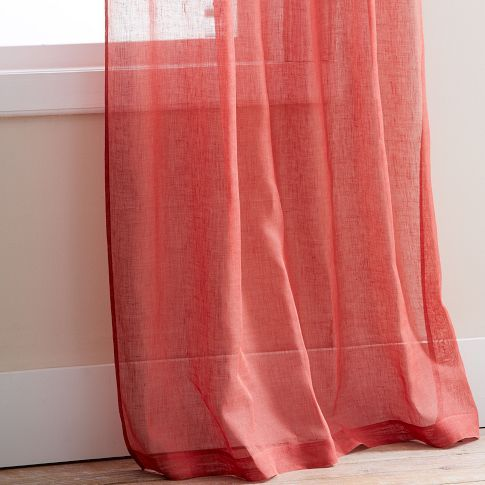 Coral Sheer Curtain Panels Coral Curtains Linen Window Panel Rose Curtains