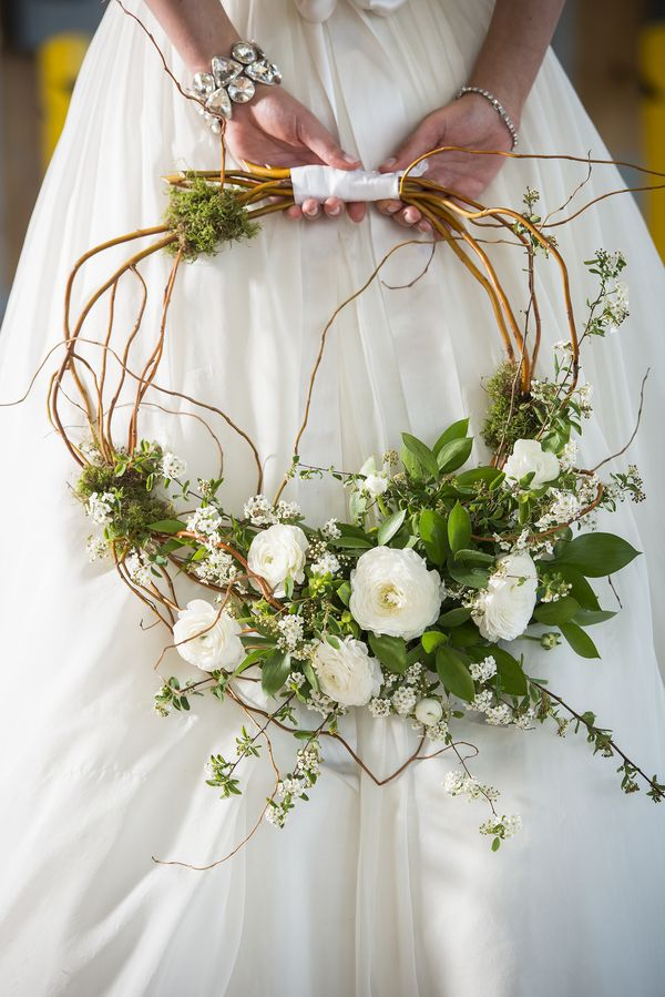 Wreath Bouquet|Whimsical Branches & Paper DIY Wedding Inspiration|Photographer:  IJ Photo