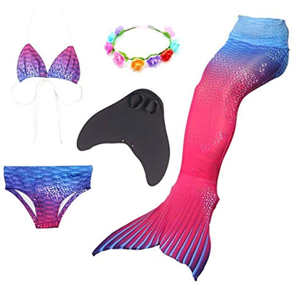 Hejin M/ädchen Meerjungfrauenschwanz 3pcs Meerjungfrauen Bikini Kost/üm Meerjungfrau Schwimmanzug