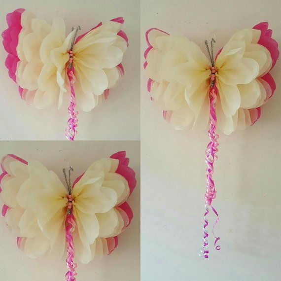 One 14″ girls birthday party decorations tissue paper wall butterflys nursery bedroom wedding sweet 16