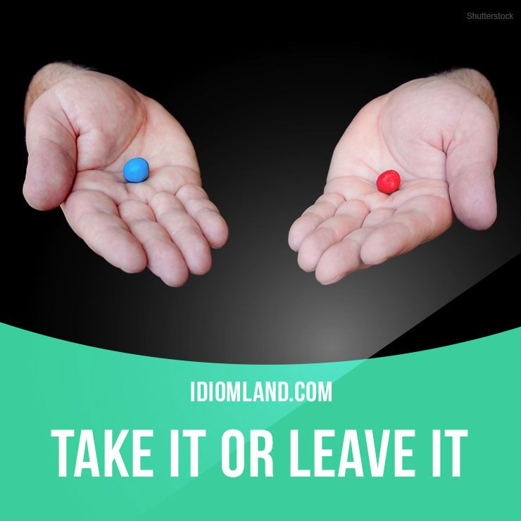 Take It Or Leave It Means Take This One Or None There Are No Other Choices Example The Only Car Left Is Pink Tak Idioms English Idioms English Phrases