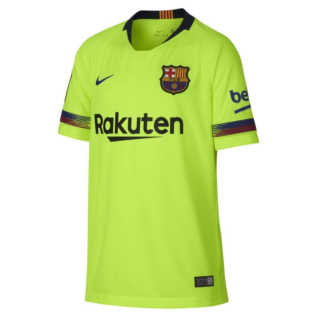 2018 19 FC Barcelona Stadium Away Big Kids  Soccer Jersey Size L (Volt) 50b93cbe5