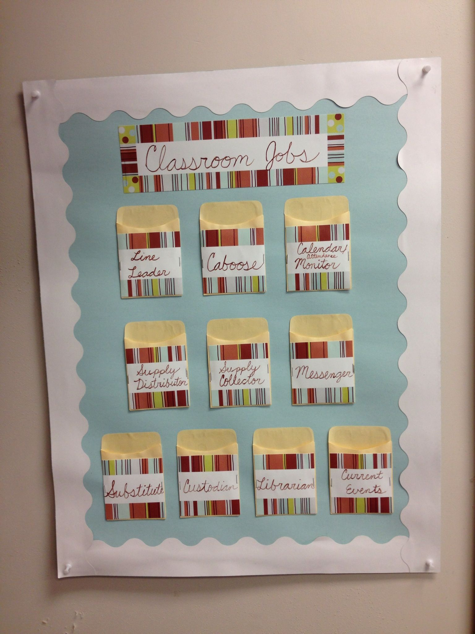DIY Classroom Jobs Chart posterboard, desk name cards
