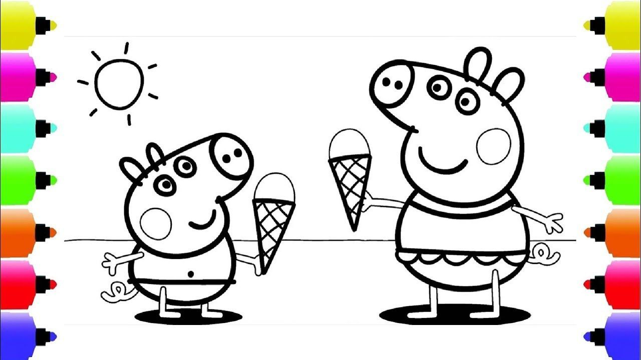 Peppa S Paintbox Peppa Pig Ice Cream Coloring Pages Cartoon Episodes In 2021 Monster Truck Coloring Pages Halloween Coloring Pages Peppa Pig Coloring Pages