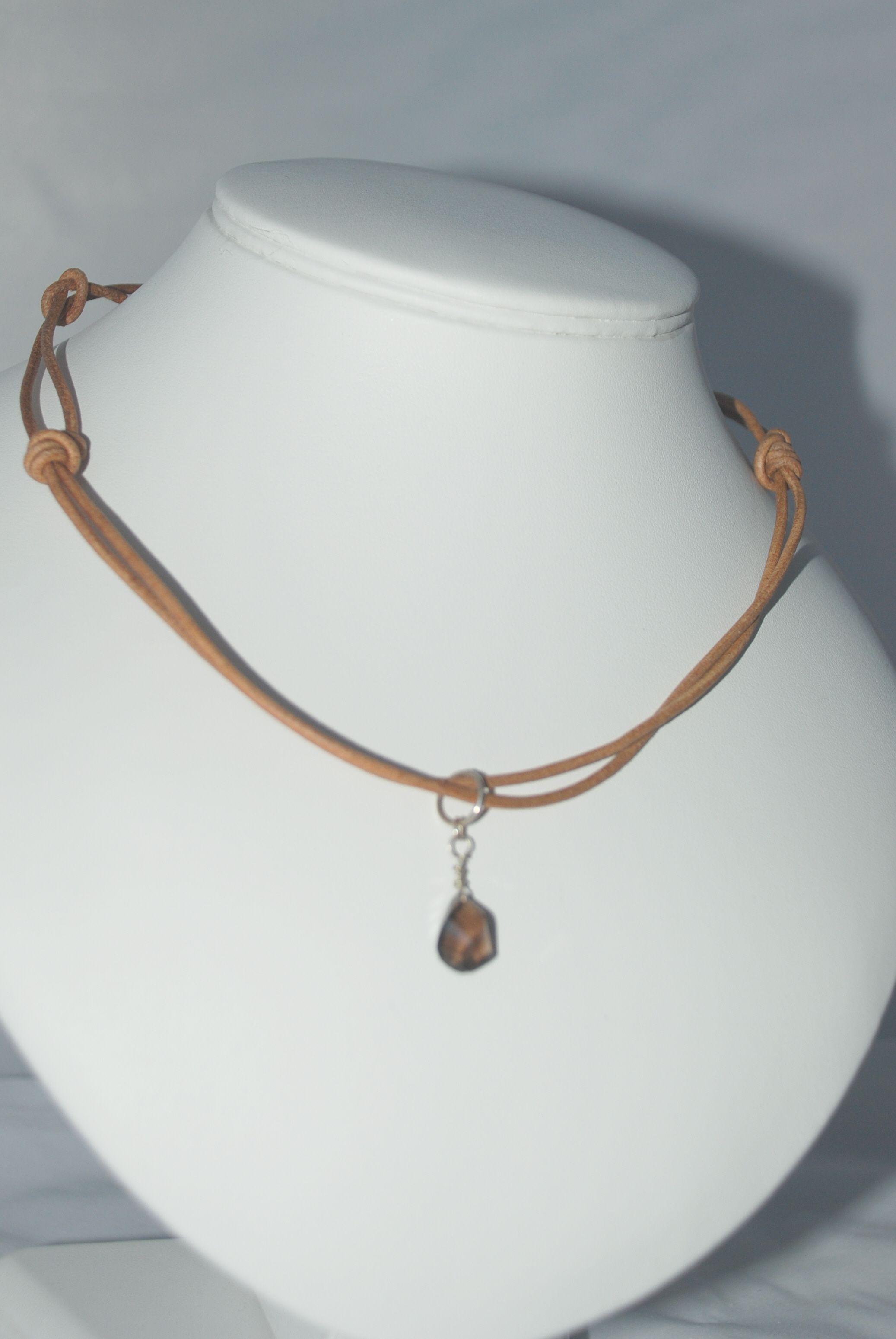 brown leather chokerette with spiral cut smoky quartz charm pendant