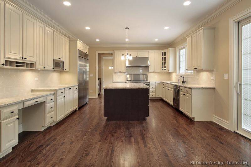 Pin By Katie Pestak On House Beige Kitchen White Kitchen Wood Floors Antique White Kitchen Cabinets