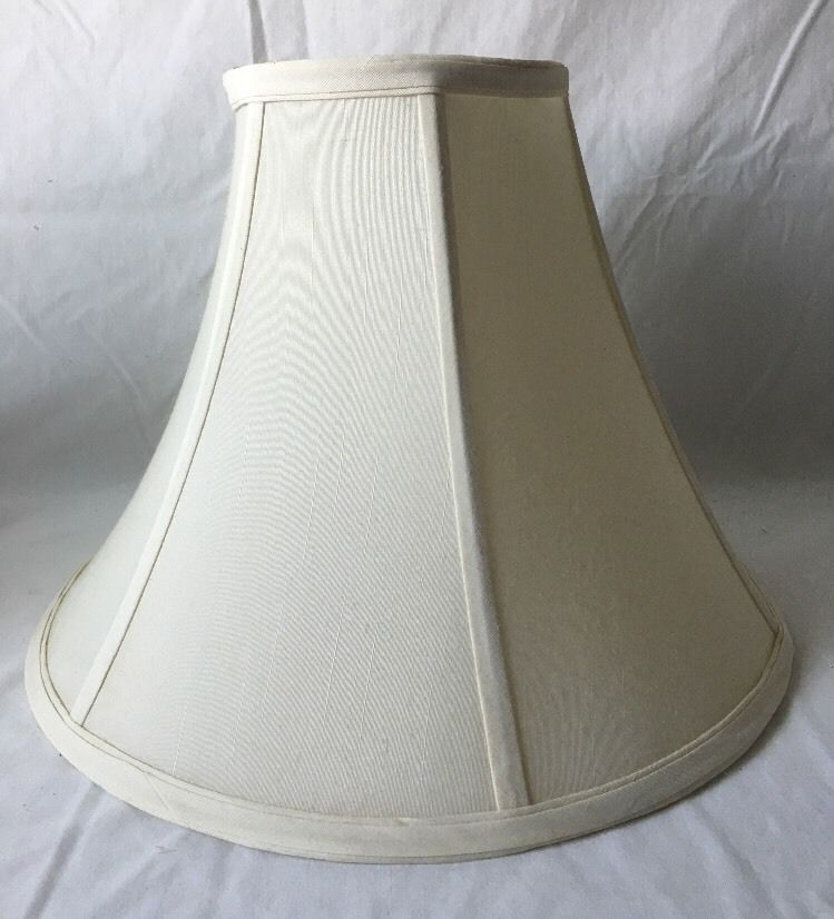 Vintage Bell Shaped Lamp Shade Flared Ivory Fabric Possibly Silk 11