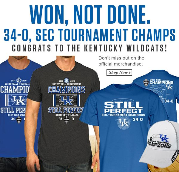 Still perfect! Get your Kentucky Wildcats SEC Tournament Champs gear here: http://www.rallyhouse.com/ncaa-kentucky-wildcats-special-event?utm_source=pinterest&utm_medium=social&utm_campaign=SECTourney-KentuckyWildcats