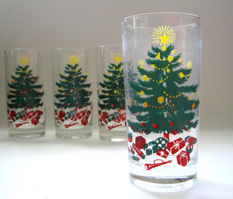 Libbey Christmas Glassware Vintage Set of 4 Highball Collins