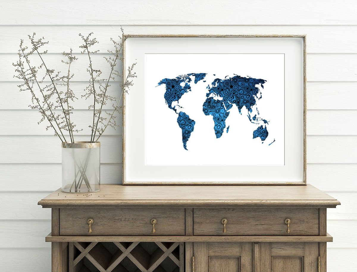 Blue and white map blue world map printable 10x8 7x5 home decor blue and white map blue world map printable 10x8 7x5 home decor map decor modern gumiabroncs Choice Image