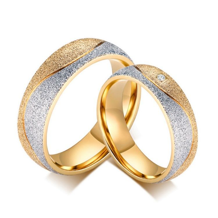 a06669fad8 ... Women Men Couple Wedding Romantic Jewelry Gift. Titanium Silvery and  Golden Ring For Couples Inlaid Cubic Zirconia Luxury and Vogue