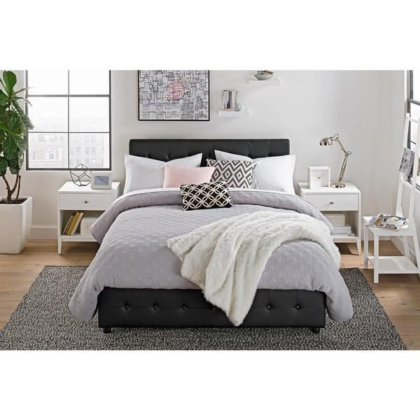 DHP Cambridge Black Faux Leather Upholstered Bed with Storage ...