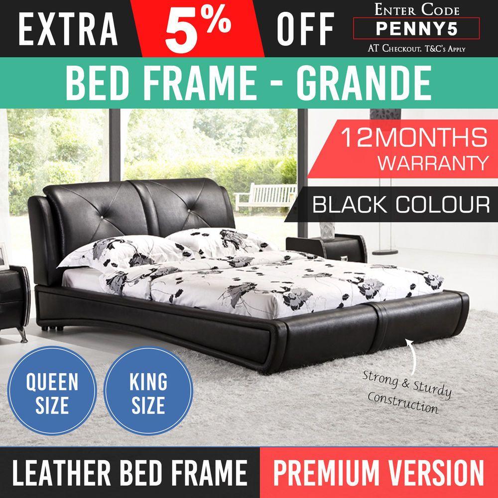 Bed Frame King Queen Black Base Mattress Bedroom Leather Crystal