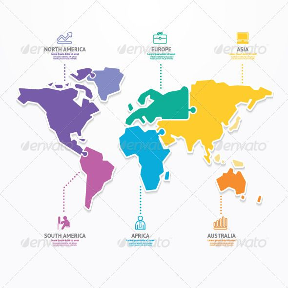 World map infographic template jigsaw concept infographic world map infographic template jigsaw concept gumiabroncs Gallery