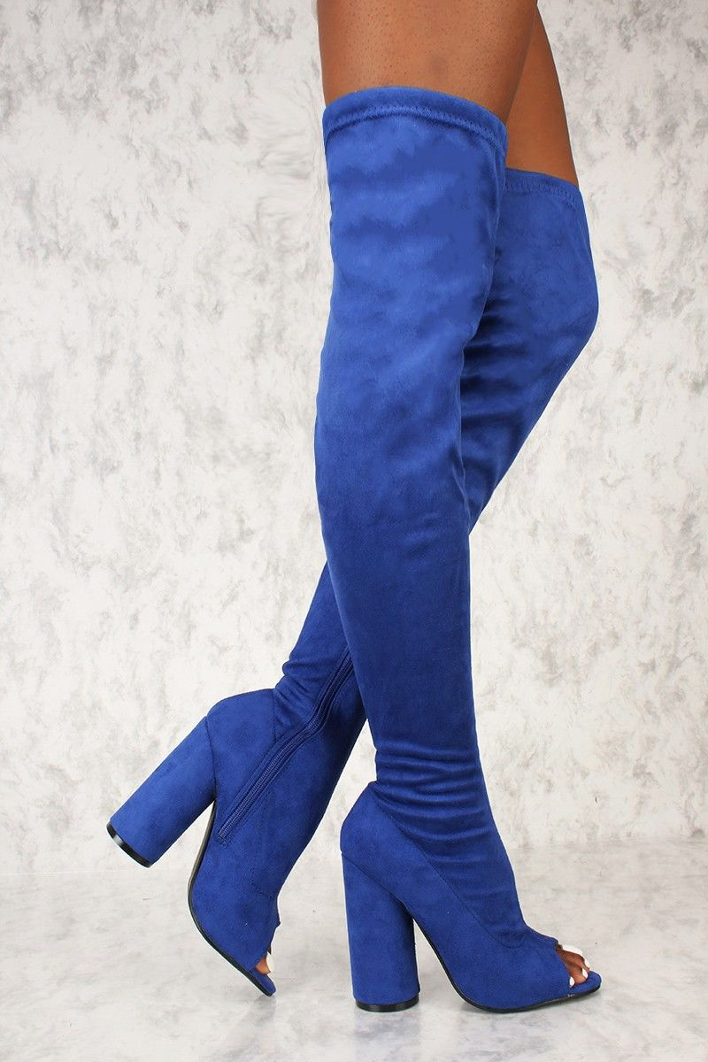 ac845f9b68d Sexy Royal Blue Open Toe Thigh High Boots Circle Chunky Heel Faux Suede