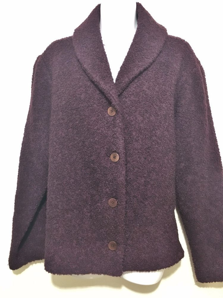 Eileen Fisher Womens L Aubergine Purple Wool Boucle Sweater Shawl ...