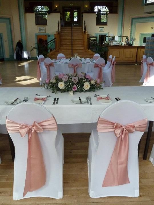 chair covers wedding yorkshire dr kincaid white with dusky pink satin sashes at the beautiful sun pavillions in harrogate