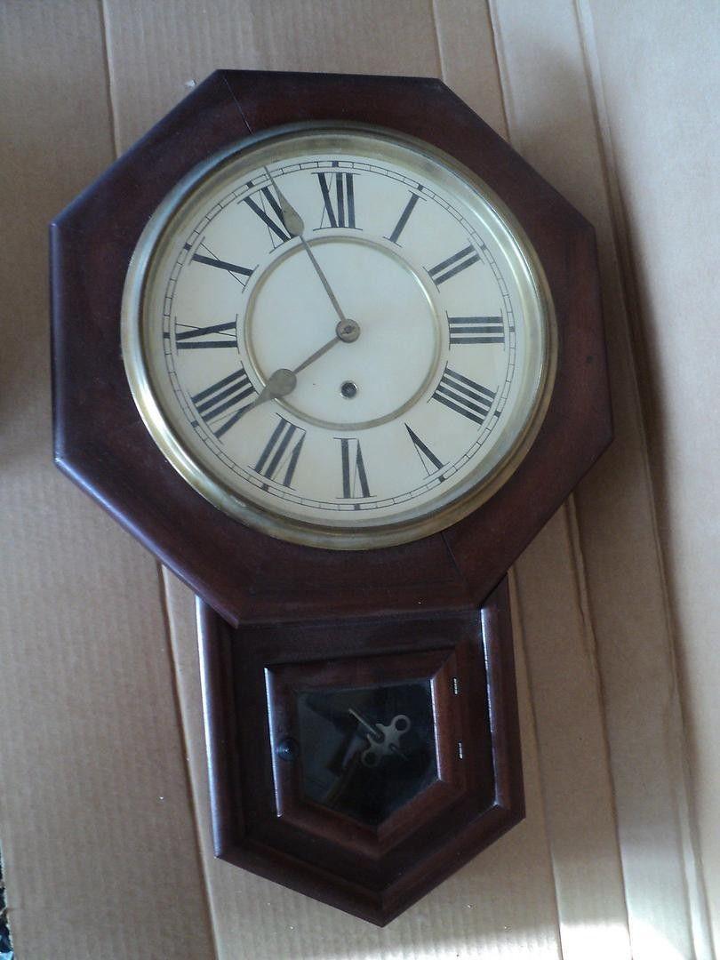 Old Waterbury 8 Day Regulator Octagon Wall Clock