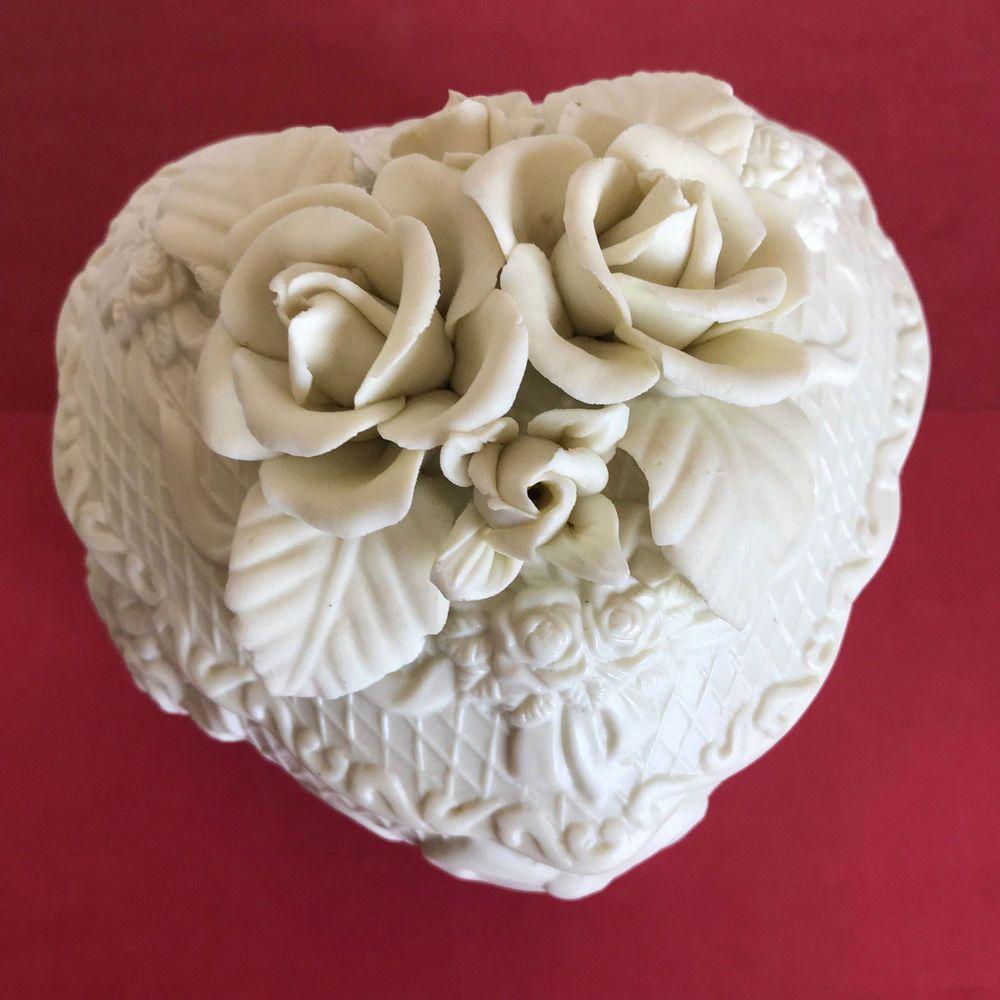 Vintage Porcelain Flower Heart Shaped Trinket Box