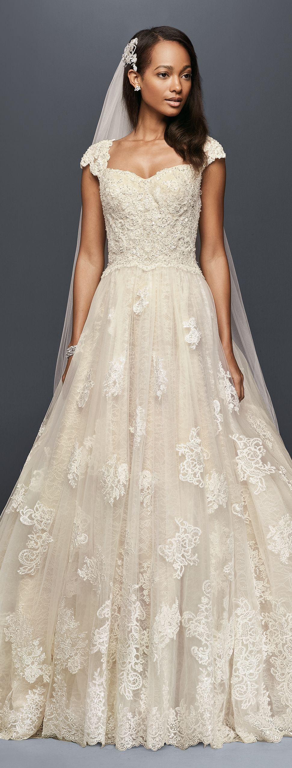 Cap Sleeve Lace Wedding Ball Gown with Beading David's