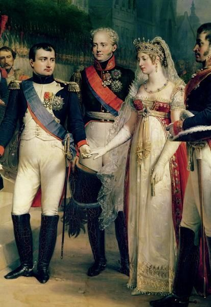 Queen Louise of Prussia, during her charm offensive at Tilsit, with, on the left, Napoleon; center,  Tsar Alexander; and on our right, Louise's husband, King Frederick William III of Prussia.