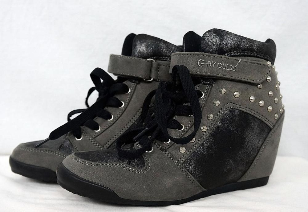 cde244f0faba G By Guess Raurie Stud Glitter Wedge High Top Sneakers Lace Up Velcro sz  6.5
