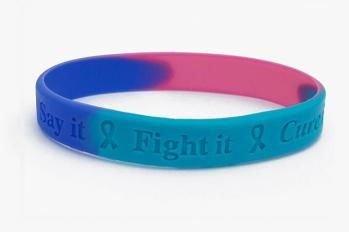 Cancer Awareness Wristband Thyroid Teal Blue Pink