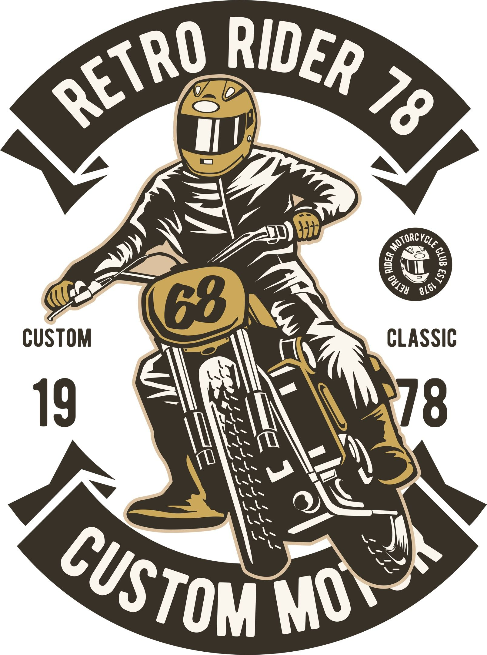 Retro Rider Print Free Vector T shirt design vector