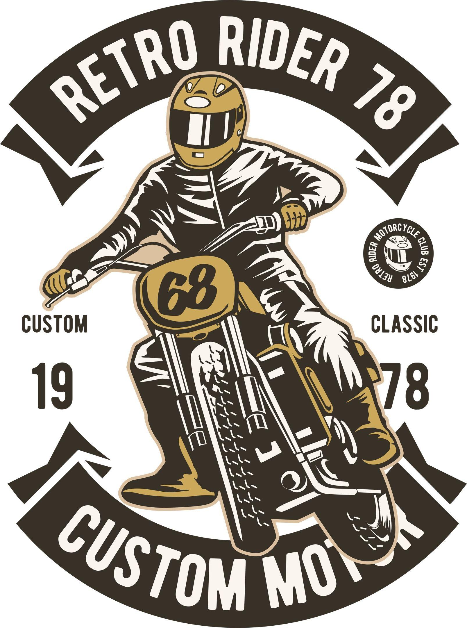 Retro Rider Print Free Vector T shirt design vector