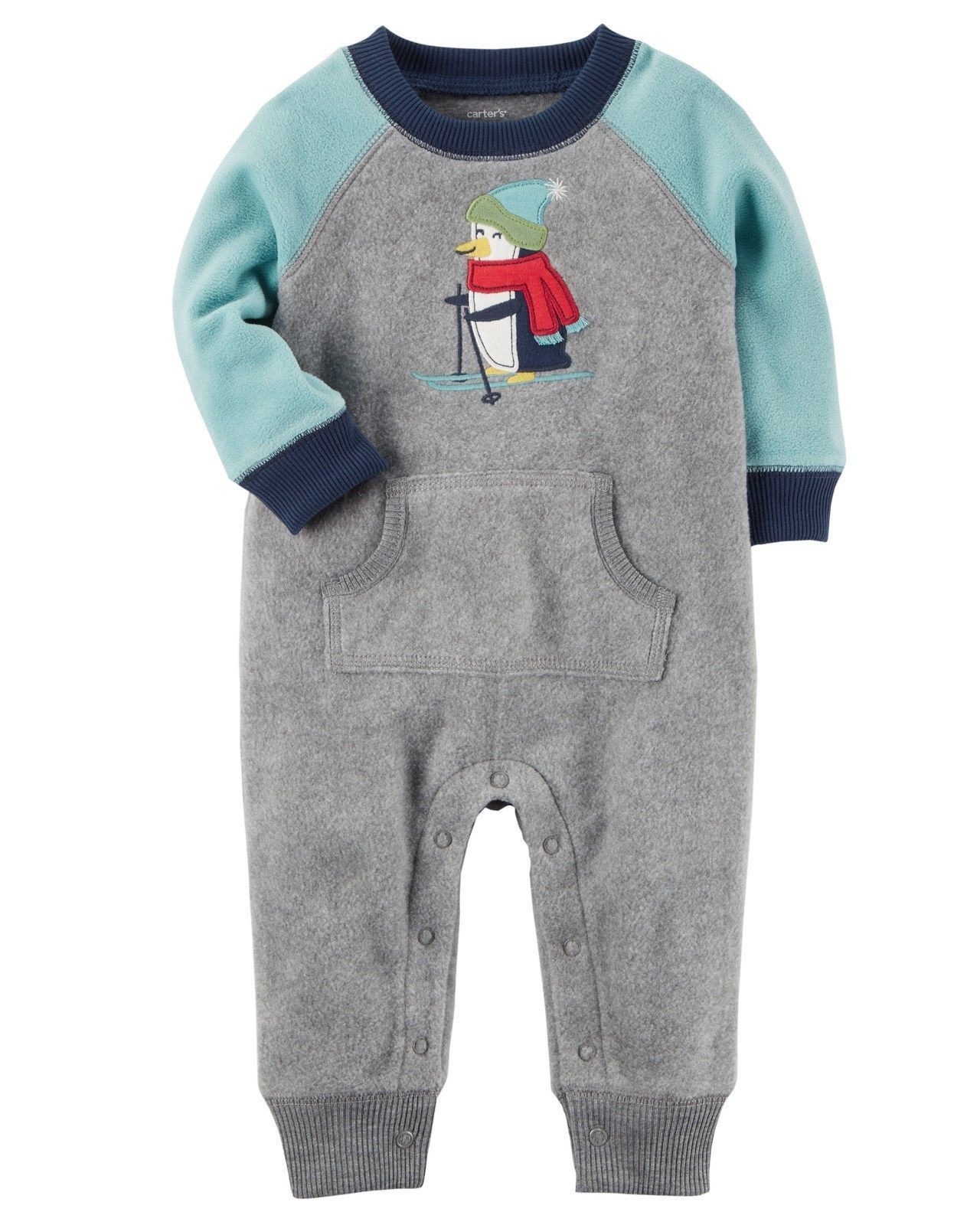 9ed551d87  11 - Carter s 1 Piece Romper Fleece Penguin Ski Raglan Nwt 3 6 9 12 ...