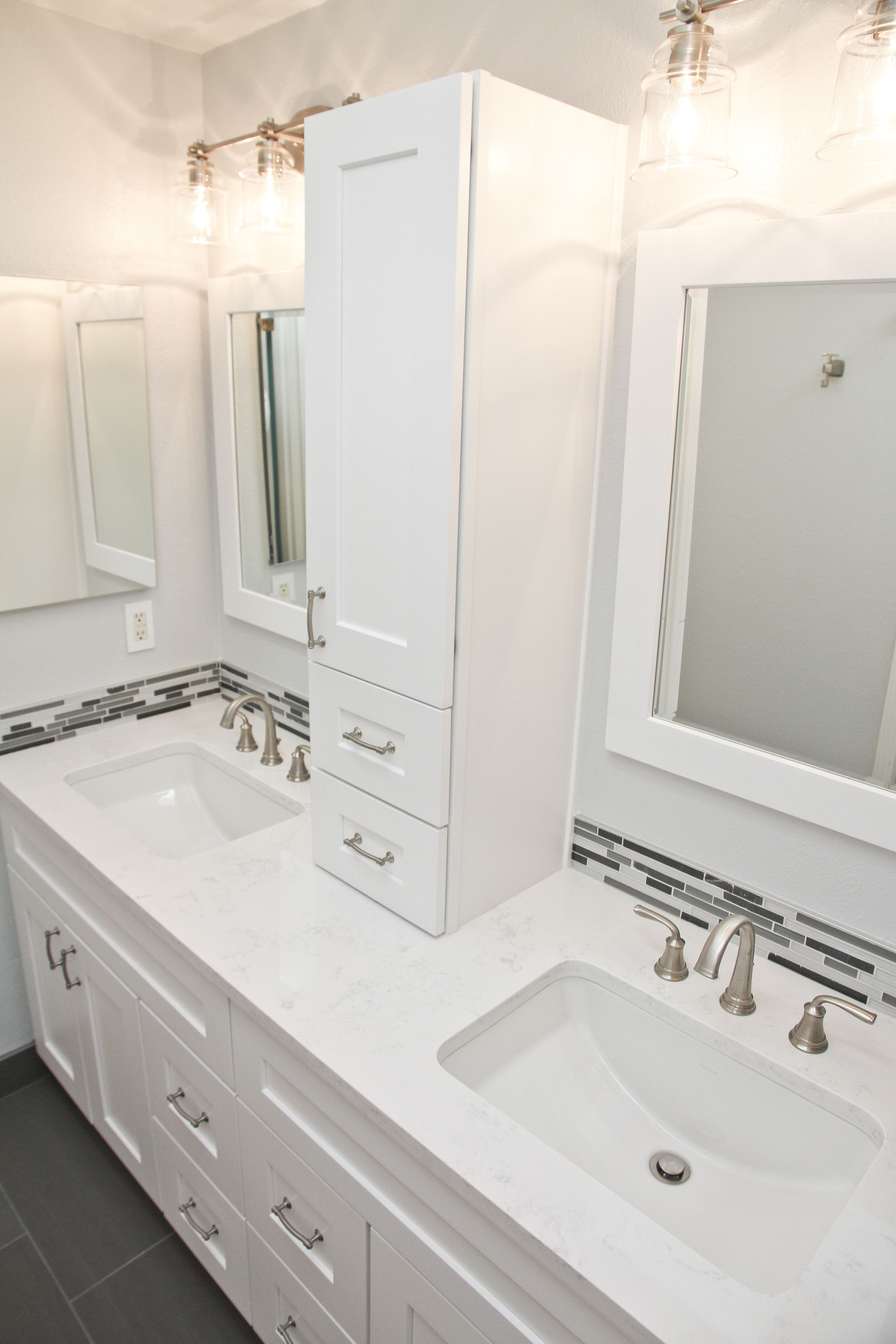 New Bathroom Remodel to create a clean look, more storage, and ...