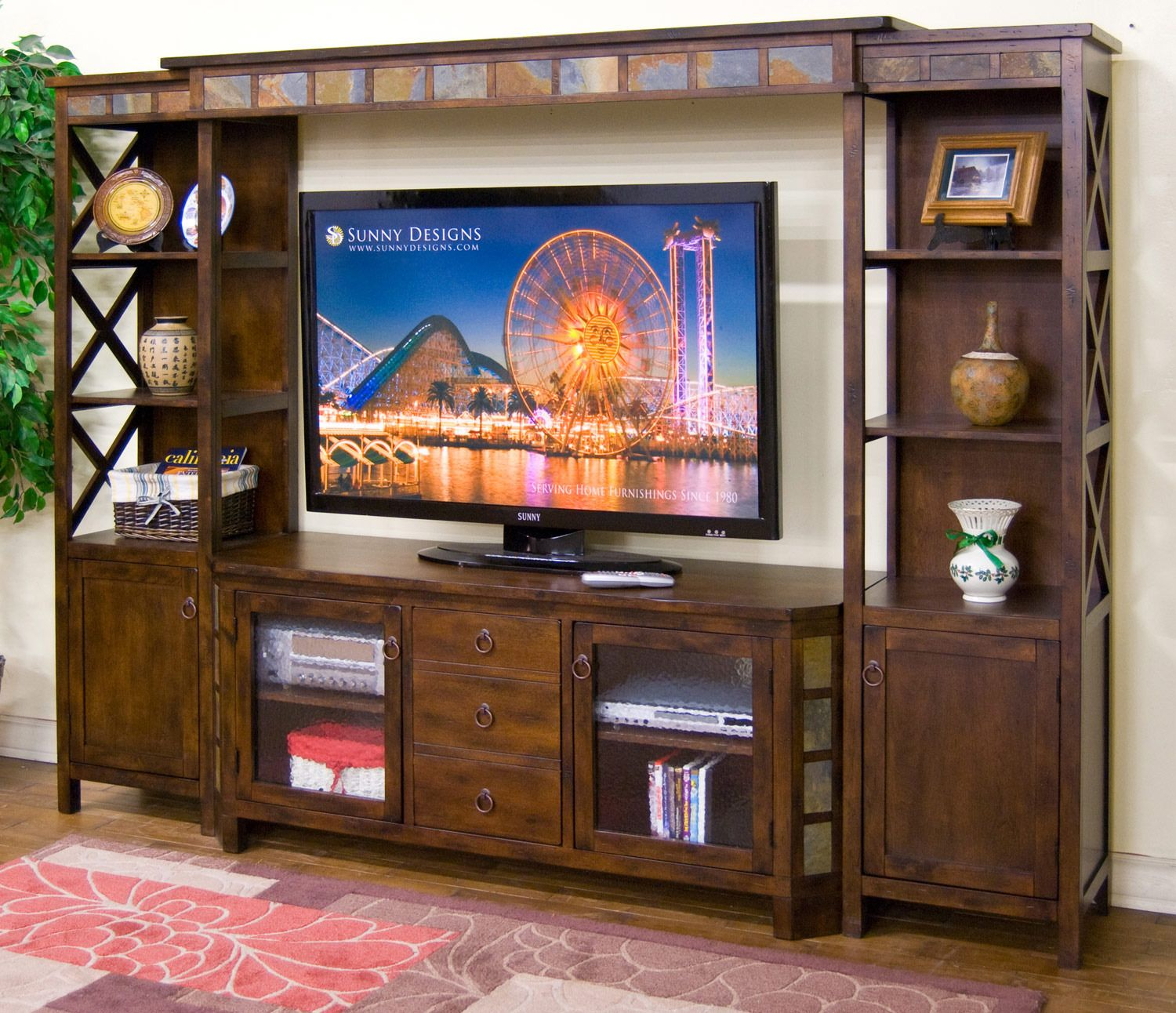 Santa Fe 5 Piece Entertainment Wall  Sunny Designs Furniture
