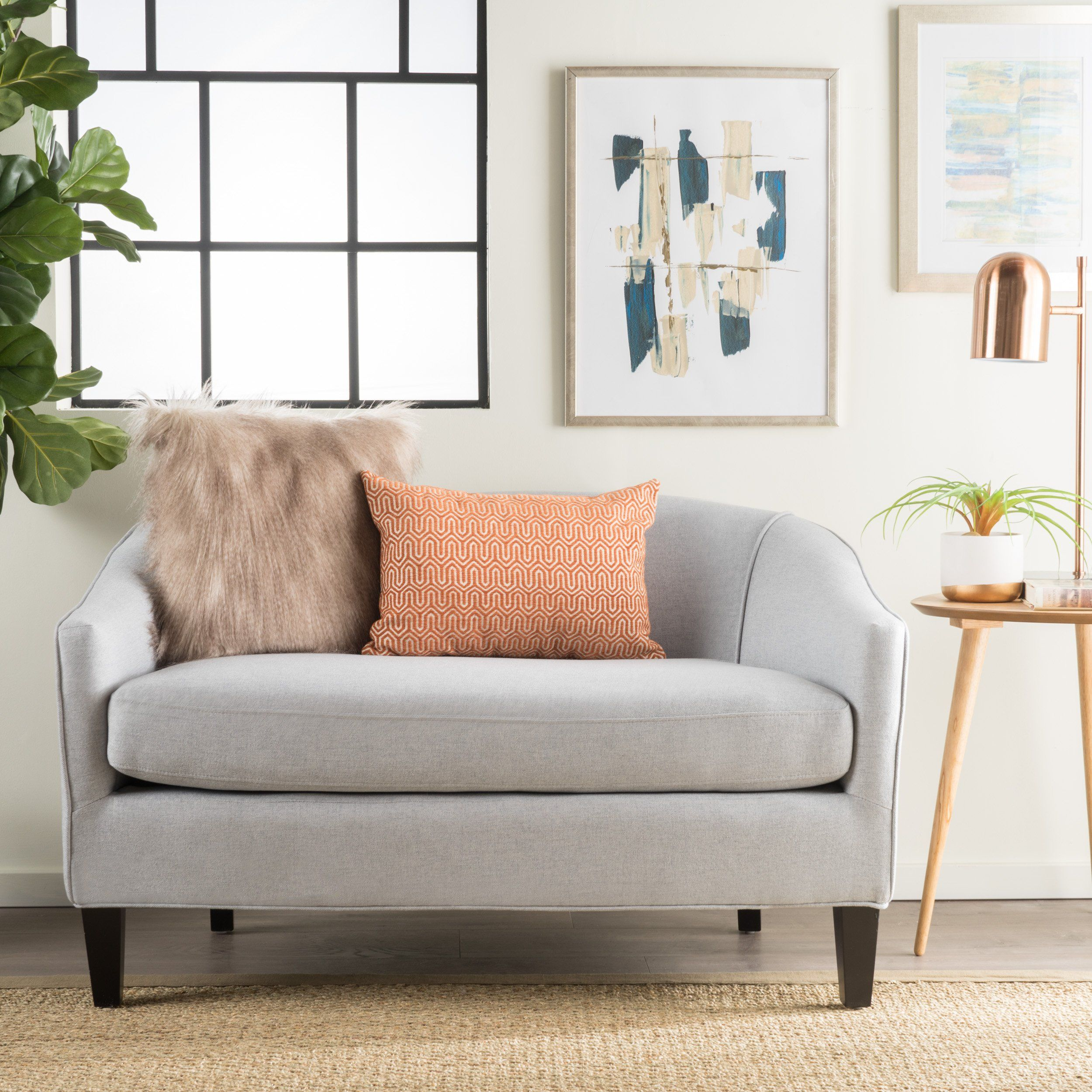 loveseat mid dowel wood brown light sofa button century tufted petite with legs products upholstery modern
