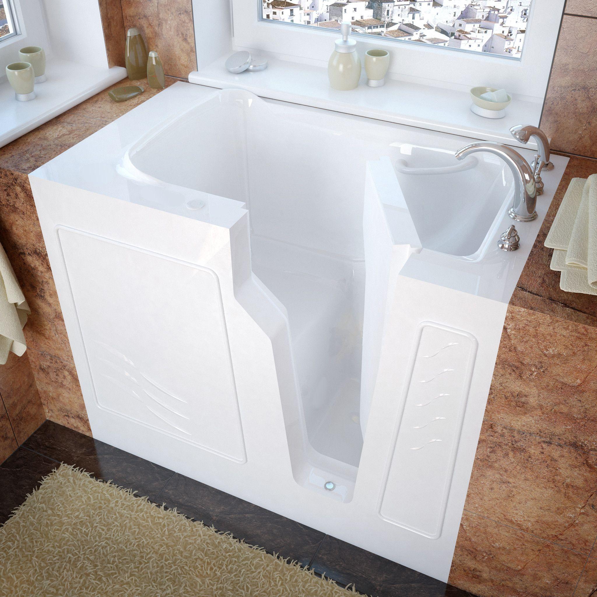 Venzi VZ2646RWS 26x46 Right Drain White Soaking Walk In Bathtub