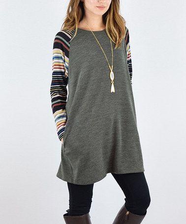 Another great find on #zulily! Olive Stripe Sleeve Raglan Tunic #zulilyfinds