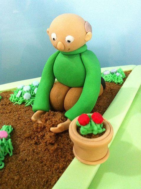 Fondant Grandpa Gardening Cake By Tiers Of Joy Via Flickr Garden Birthday Cake Garden Cakes Allotment Cake