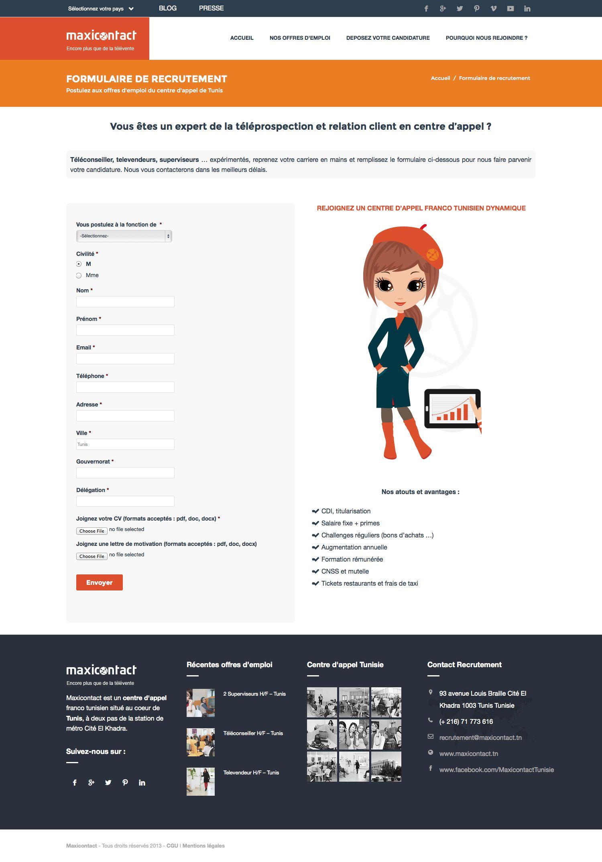 maxicontact   webdesign du site du call center Maxicontact Tunisie