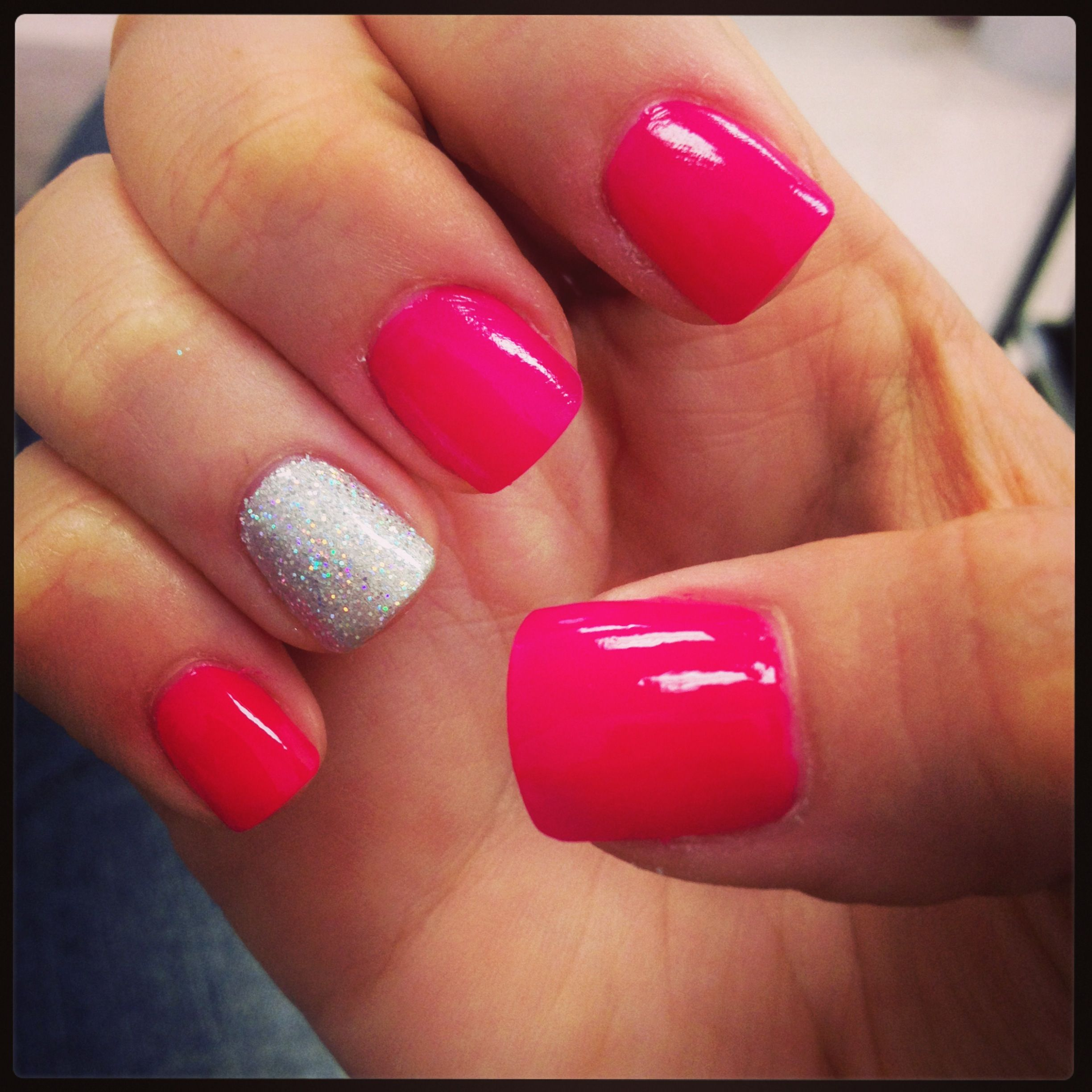 Pink and silver nails - Hot Pink Nails With Glitter Shellac Dawn Cole