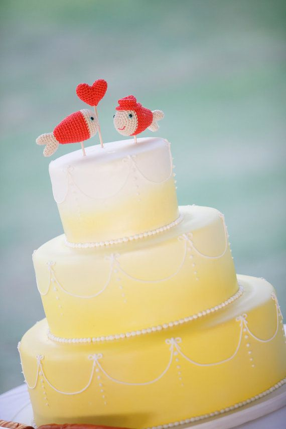 Coral Wedding Cake Topper Nautical Crochet Fish. So cute! | One Day ...