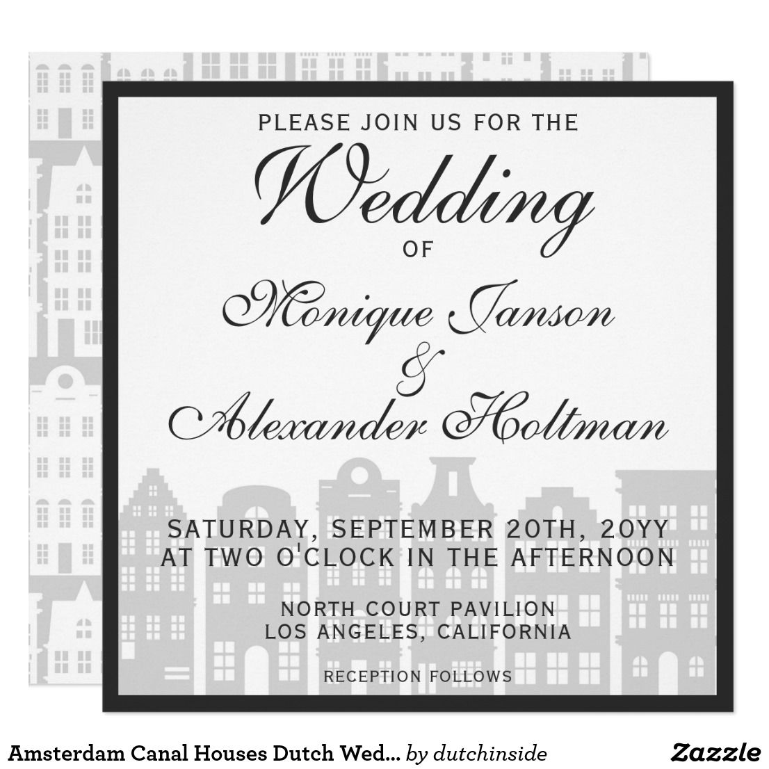 Amsterdam Canal Houses Dutch Wedding Invitation Zazzle Com Canal House Amsterdam Canals Invitations