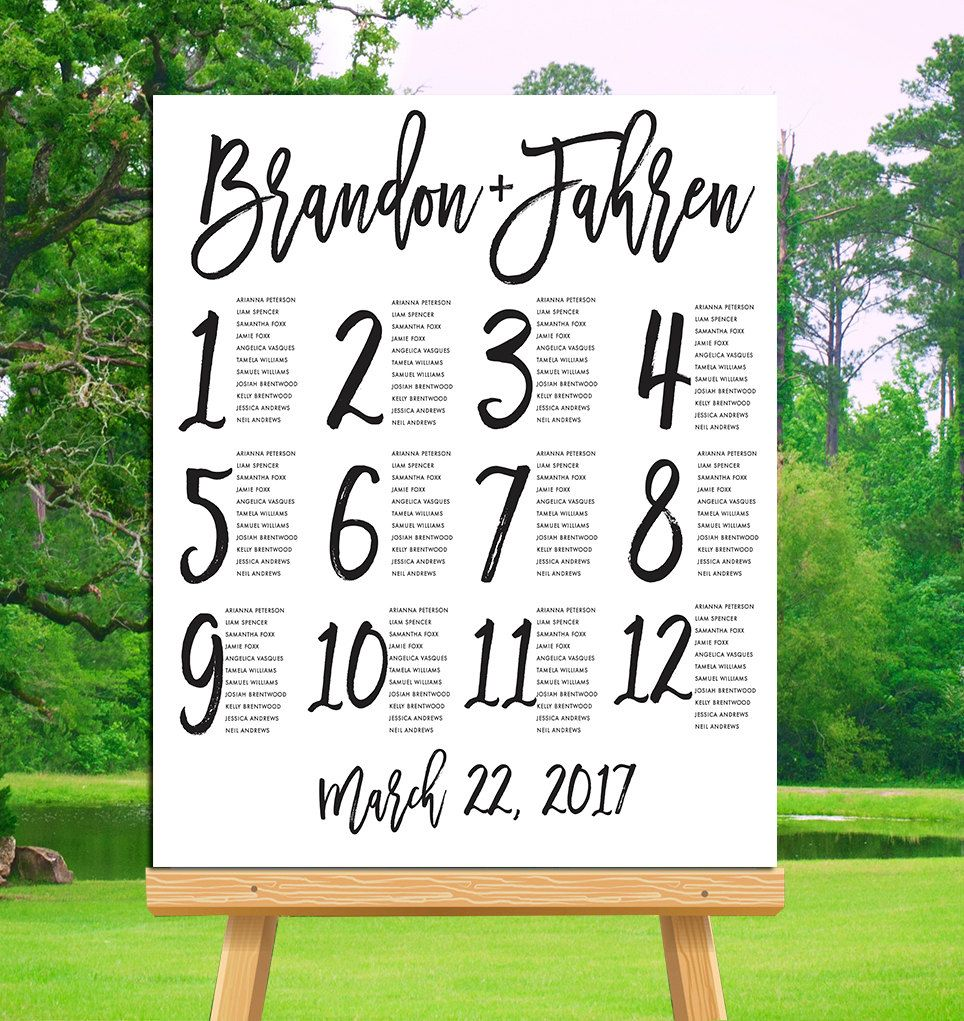 Wedding seating chart printable alphabetical or by table number digital file poster reception decor writteninpinkstudios on also rh pinterest