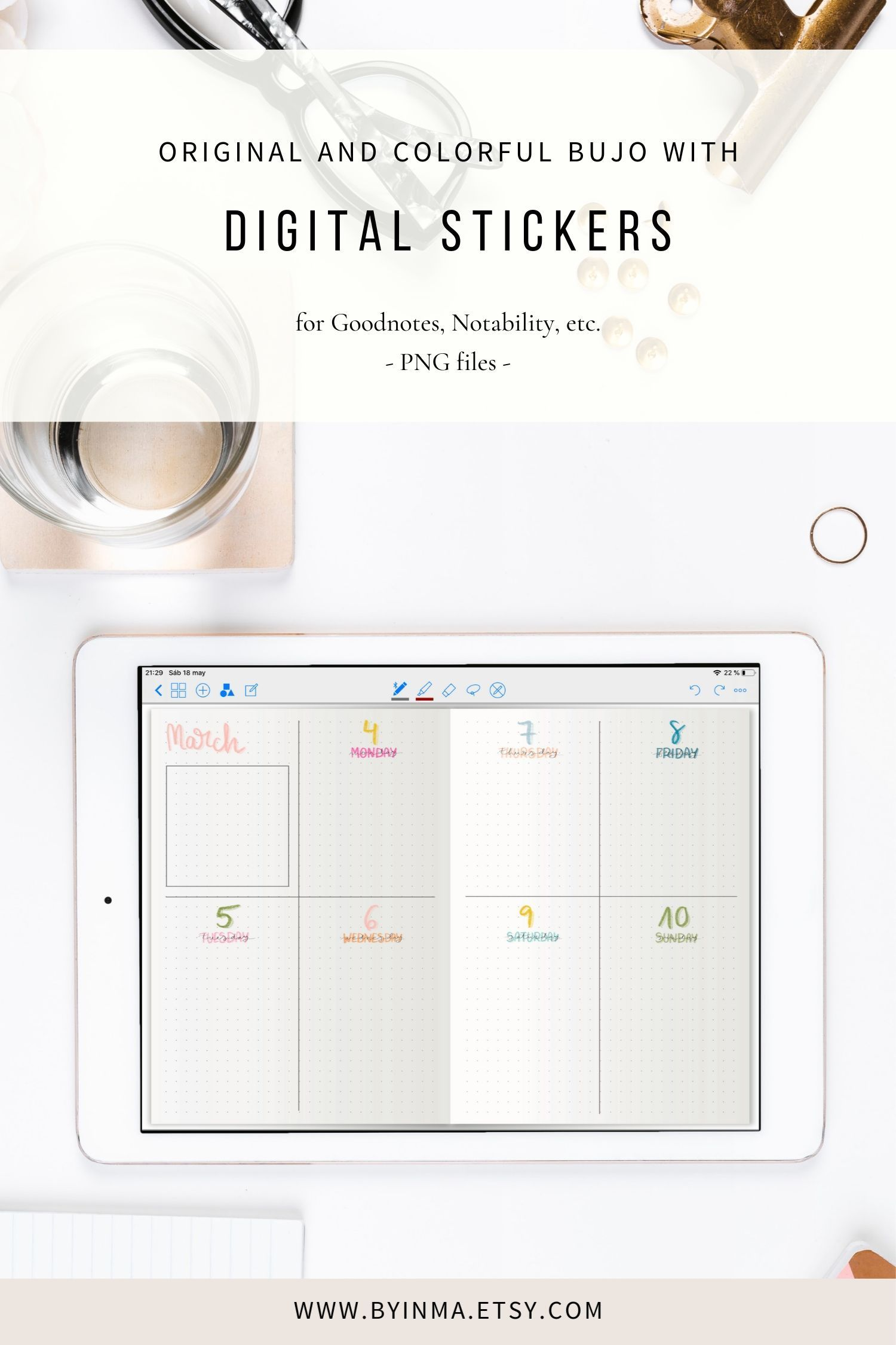 Digital Stickers Goodnotes Bullet Journal Pre Cropped Color Etsy Digital Sticker Bullet Journal On Ipad Dot Journals