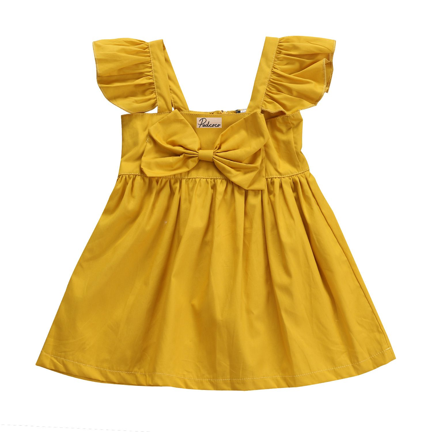 Newborn Infant Kids Baby Girls Clothes Sleeveless Bow Yellow Casual