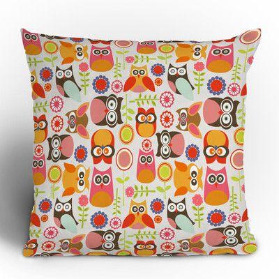 DENY Designs Valentina Ramos Cute Little Owls Throw Pillow   AllModern