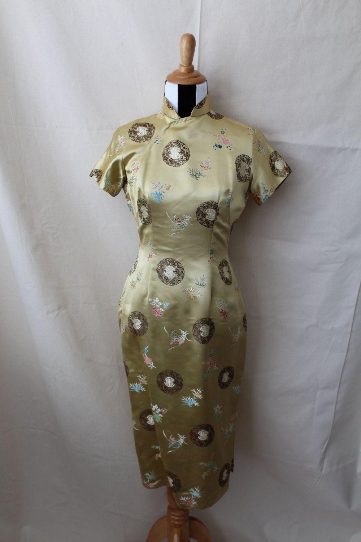 1950er Jahre gold Seide Cheongsam Kleid 1950er Jahre   Vintage ...