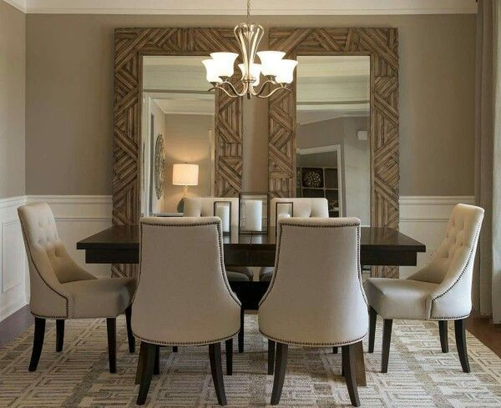 Nice 49 Stylish Large Decorative Mirrors Ideas For Dining Room Esszimmer Wanddekoration Elegantes Esszimmer Wohnzimmer Spiegel
