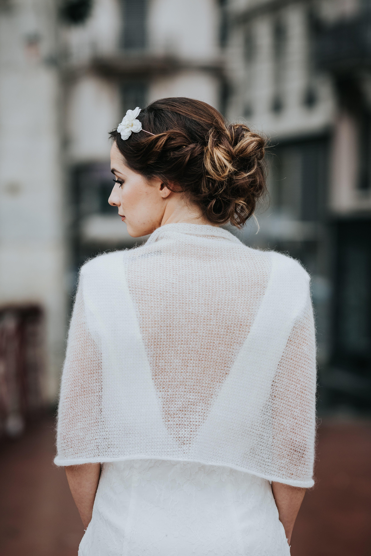 étole de mariée - tricot pour mariage - maille mohair - accessoire mariage  hiver b428892eade