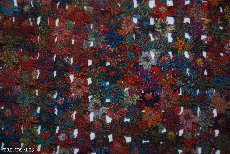 Sophie Digard tørklæde - str. 200 x 30 cm - multifarvet på varm brun bund