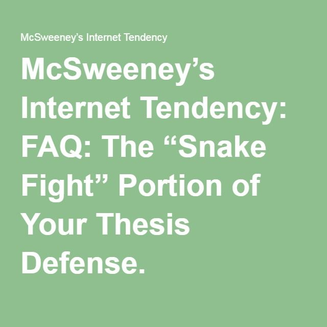 mcsweeneys snake thesis defense